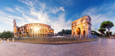The path between the Arch of Constantine and theColiseum, Rome. Italy