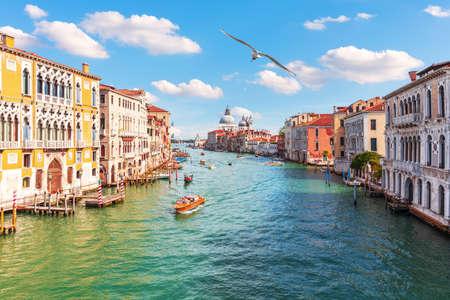 Grand Canal of Venice, view of the Lagoon near Santa Maria della Salute, Italy