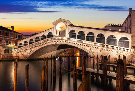 The Rialto bridge in Venice, night view