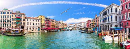 Grand Canal panorama near the Rialto bridge, Venice, Italy