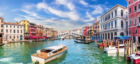 Grand Canal of Venice, view of the Lagoon near The Rialto bridge, Italy