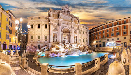 Trevi Fountain at sunset, Rome, no people