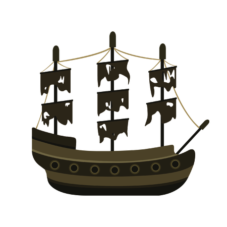 Pirate Ship on White Background