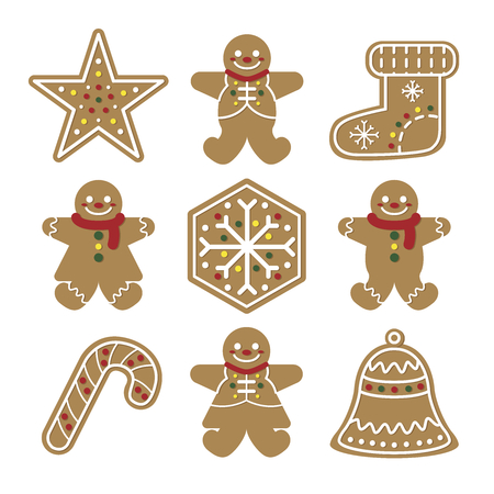 Collection of various gingerbread man in Merry christmas.