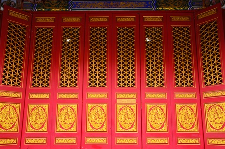 chinese temple door in Thailand photo