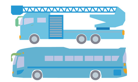 lateral view: Ladder truck and bus illustration