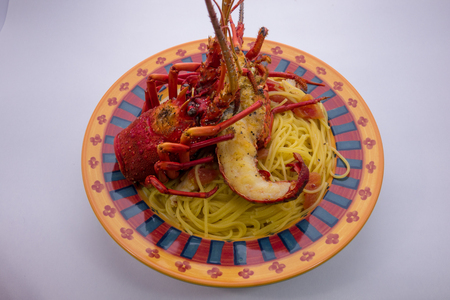 spiny lobster: spiny lobster pasta Stock Photo
