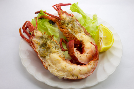 steamed: Wine steamed spiny lobster Stock Photo