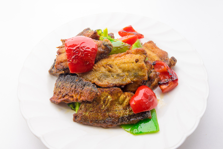 Fried saury and Colorful vegetables with Curry flavor