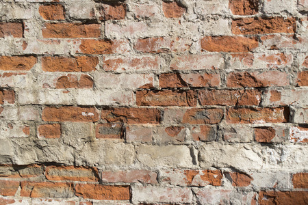 Ordinary red brickwork, old wall. Stock Photo