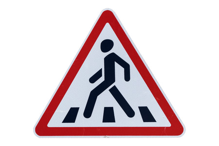 Triangular red border road sign 'Pedestrian crossing' isolated on white.