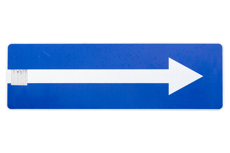 One way street in direction of right arrow road sign isolated on white.