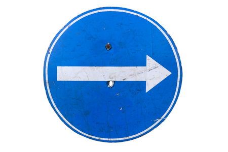 Holey Round blue road sign 'Turn Right' isolated on white.
