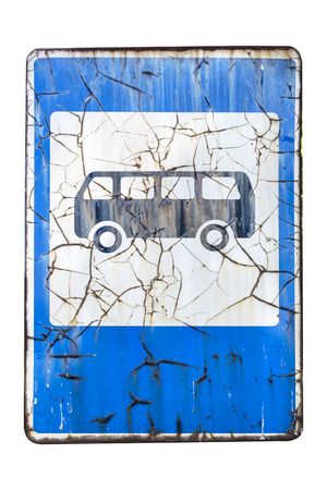 Old rusty with cracks road sign 'Bus stop' isolated on white. 免版税图像