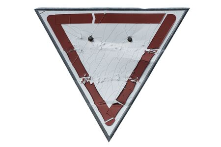 Triangular old rusty weather-stained road sign 'Yield' ('Give way') isolated on white.