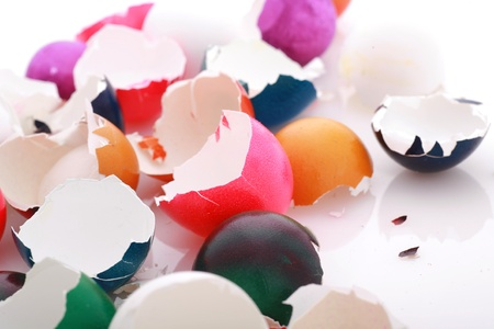after easter scenario, colorful eggshells on white........... photo