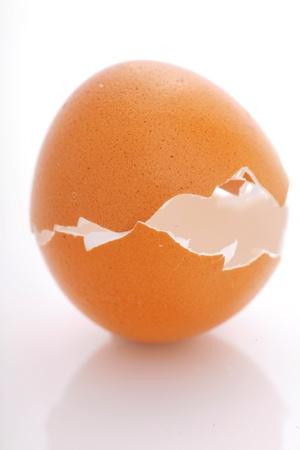 broken egg shell isolated on white background photo