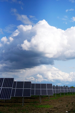 solarpower: solar collector energy plant outside against sky Stock Photo