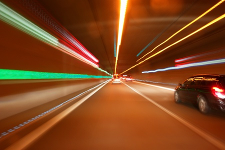 tunnel car motion blur night traffic fast photo