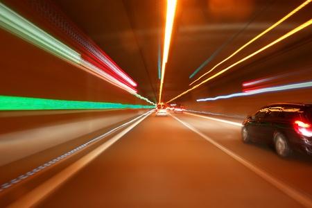 tunnel car motion blur night traffic fast Stock Photo - 8952583