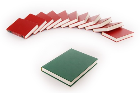 stack of red books isolated on white photo