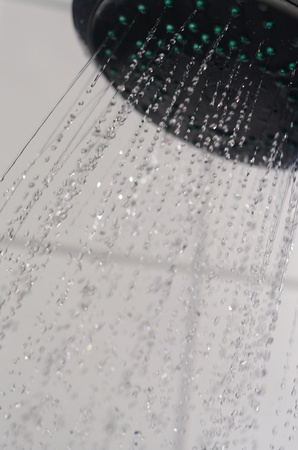 water drops falling from a shower indoors Stock Photo - 9012911
