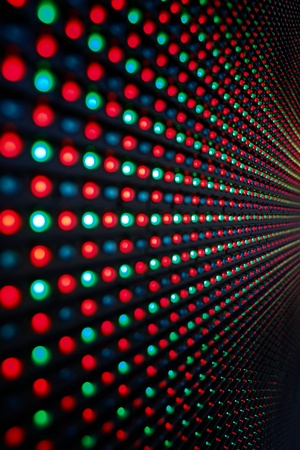 led: Close-up of the Matrix of a Screen made of multiple LEDs....