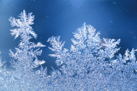 rime frost: The patterns made by the frost on the window (hoarfrost background) Stock Photo