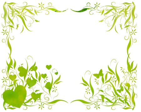 floral foliage beautiful arty background against white