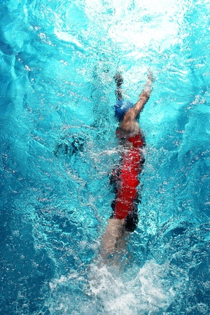 Swimmer in a swimming pool on a hot day photo