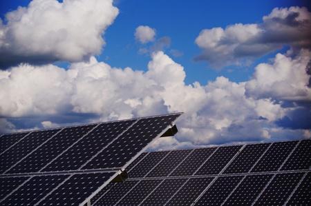 solarenergy: solar collector energy plant outside against sky Stock Photo