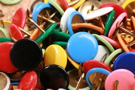 coulorful: close-up of thumbtacks...........