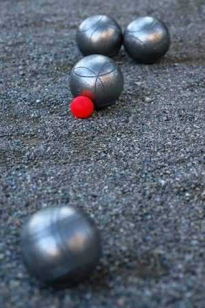 bocce: silver boccia ball on the ground