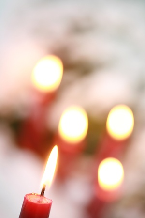 candles in snow photo