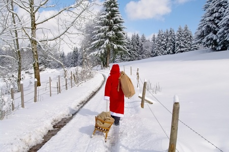 Santa Claus, Father Christmas in a beautiful winter landscape Zdjęcie Seryjne