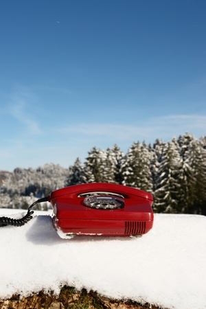 Santa Claus Hotline symbolized by a red retro phone Stock Photo - 11119232