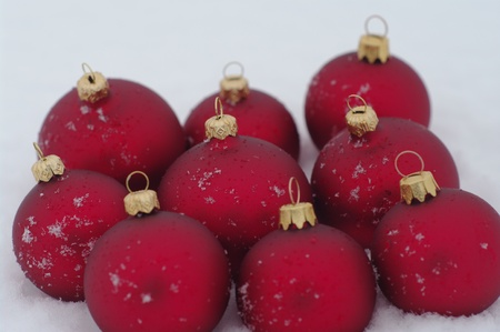 a red bauble in snowy lwinter andscape photo