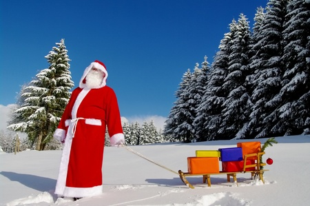 christmas sleigh: Santa Claus, Father Christmas with colorful presents on a sledge