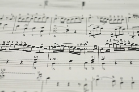 minuet: close-up of an old music sheet, very shallow DOF! Stock Photo