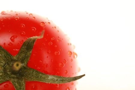 mouth watering: close-up of tomato with waterdrops strong backlit shallow DOF...........
