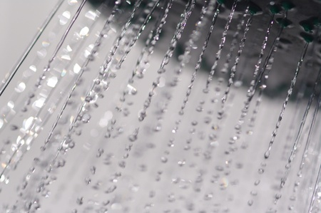 water drops falling from a shower indoors Stock Photo - 11093852