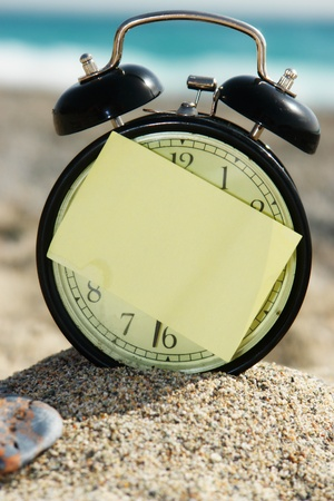 a closeup of an old clock on a beach photo