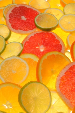 citrus fruits in slices........... photo