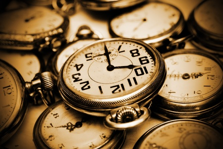 ancient pass: Old vintage clocks, watches Stock Photo