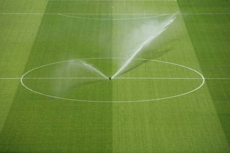 premiership: a empty soccerfield in a stadion...........