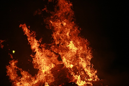 close-up of a big wooden fire............ photo