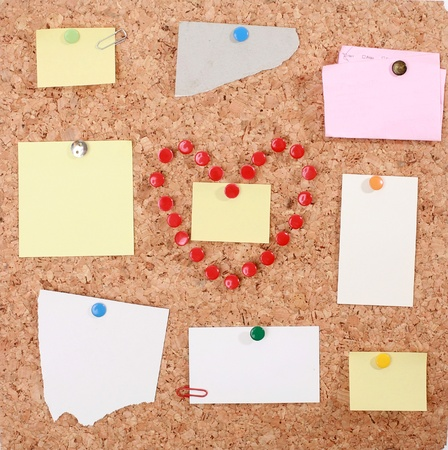 a valentine heart made of thumb tacks on a corkboard........... photo
