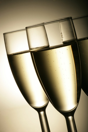 sparkling champagne wine glasses shot in studio Stock Photo - 11388015