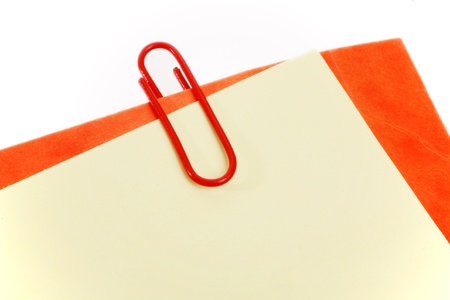 attachment holding by  a paperclip........... Stock Photo