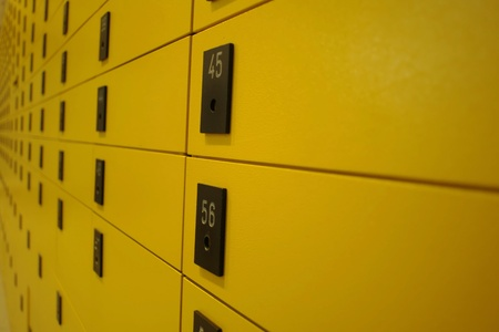 yellow lock boxes very shallow DOF........... Stock Photo
